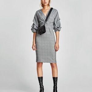 Zara gently used check dress with volume sleeve